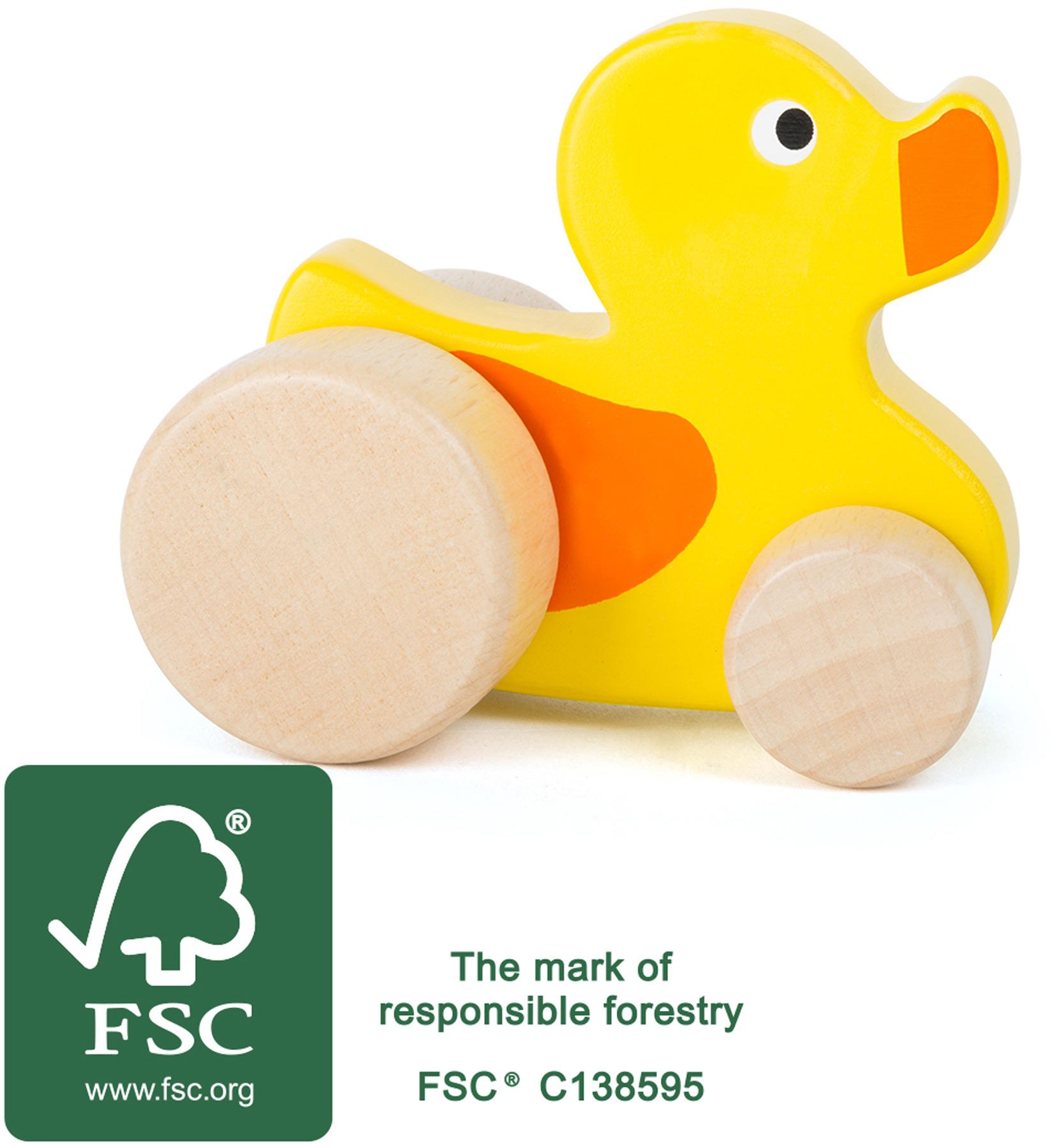 Wooden push along duck
