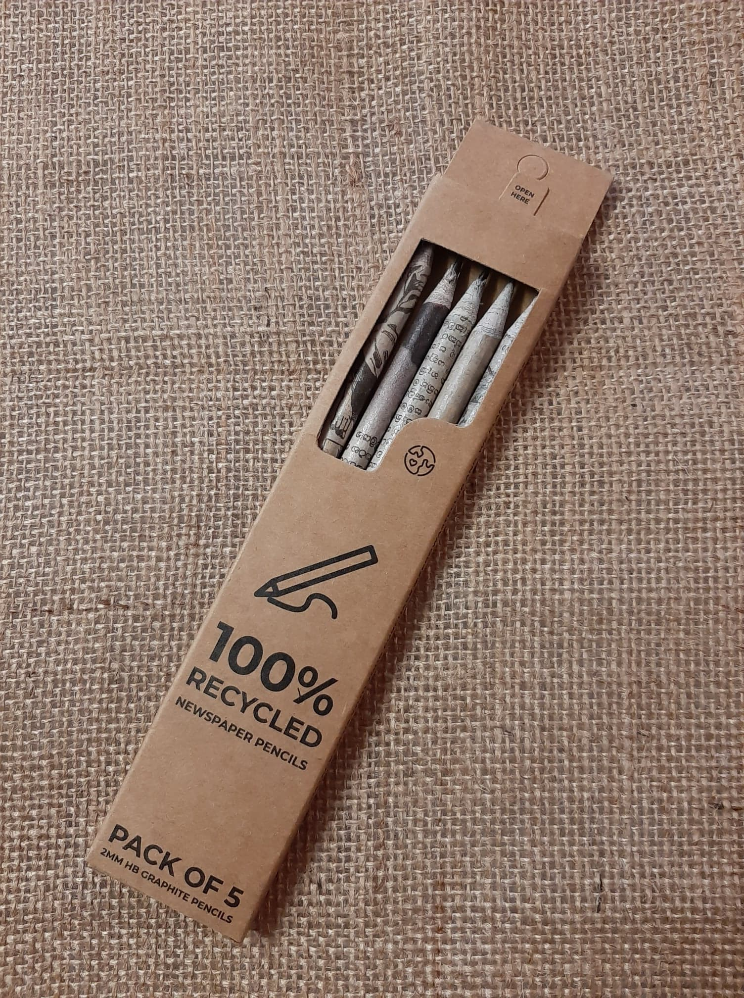 Pencils 100% Recycled Newspaper pack of 5