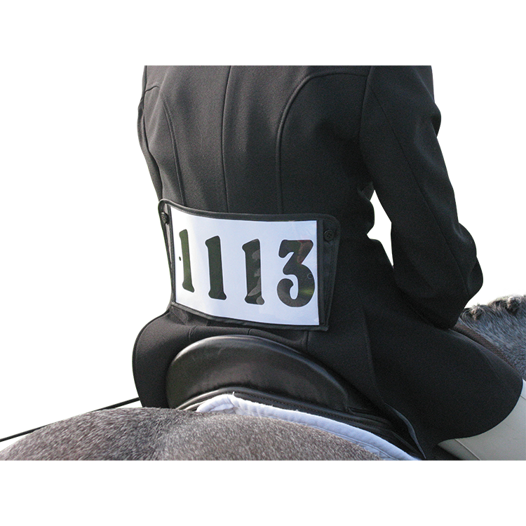 Jacket back button on Competition number bib