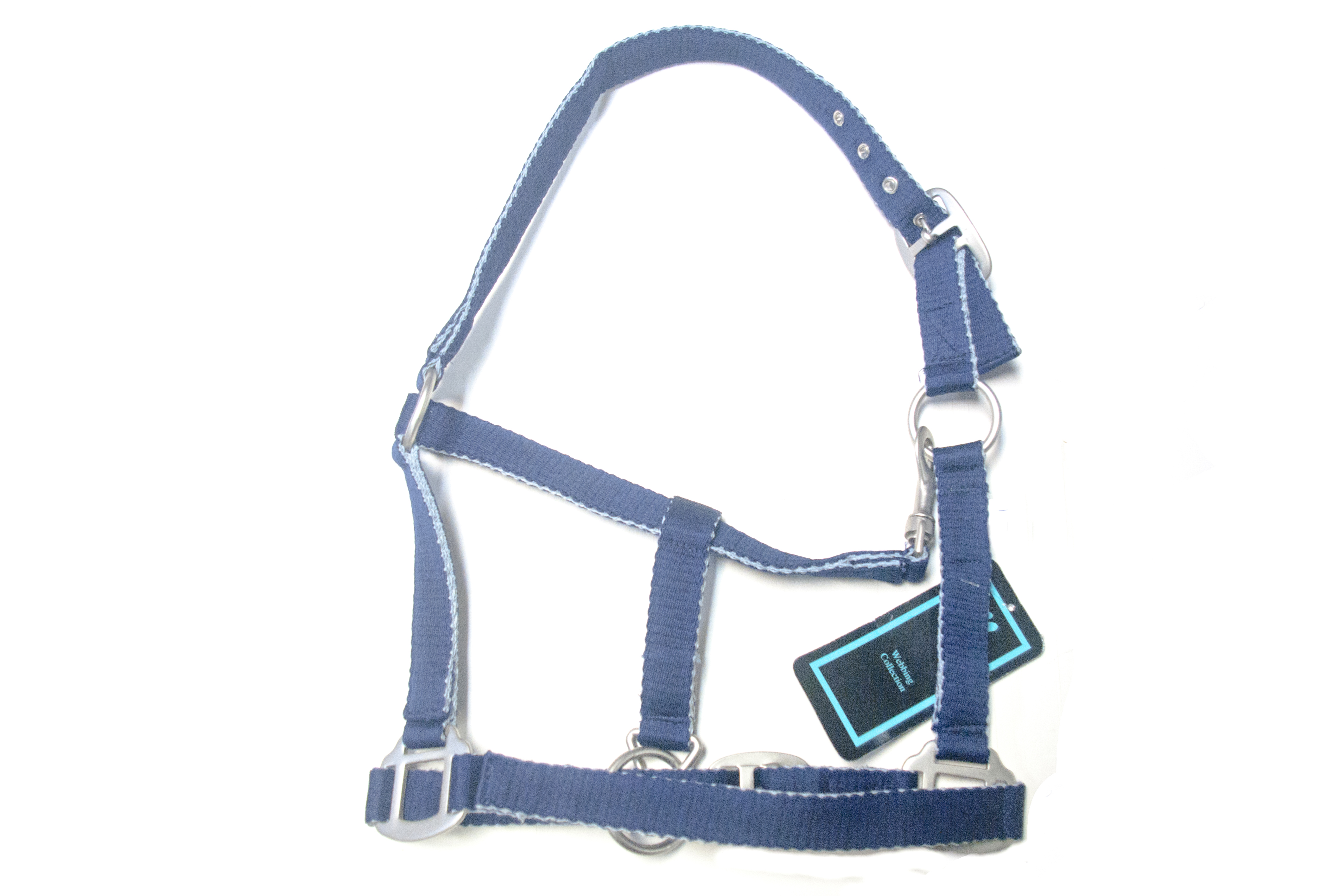 Hy Adjustable soft touch headcollar navy/silver pony