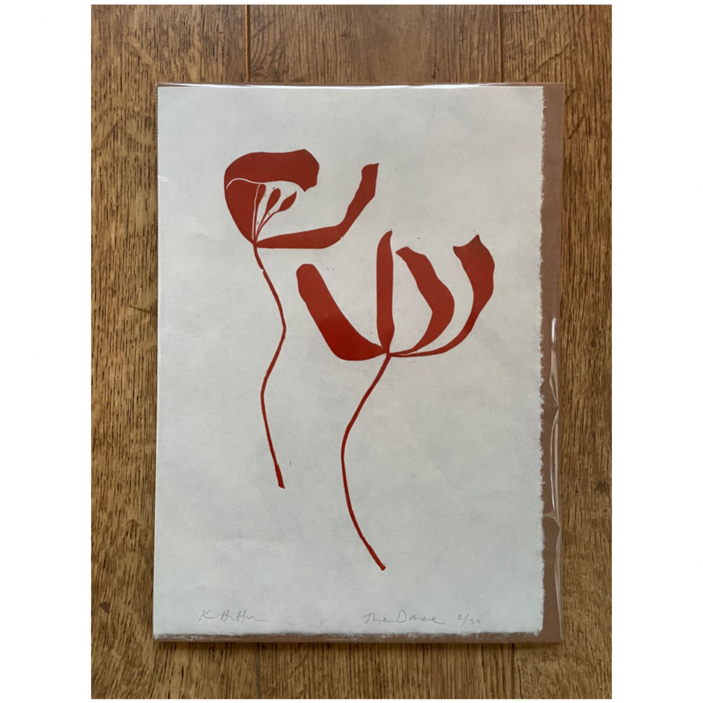 The Dance. Lino print of two tulips in Rust by Kathy Hutton