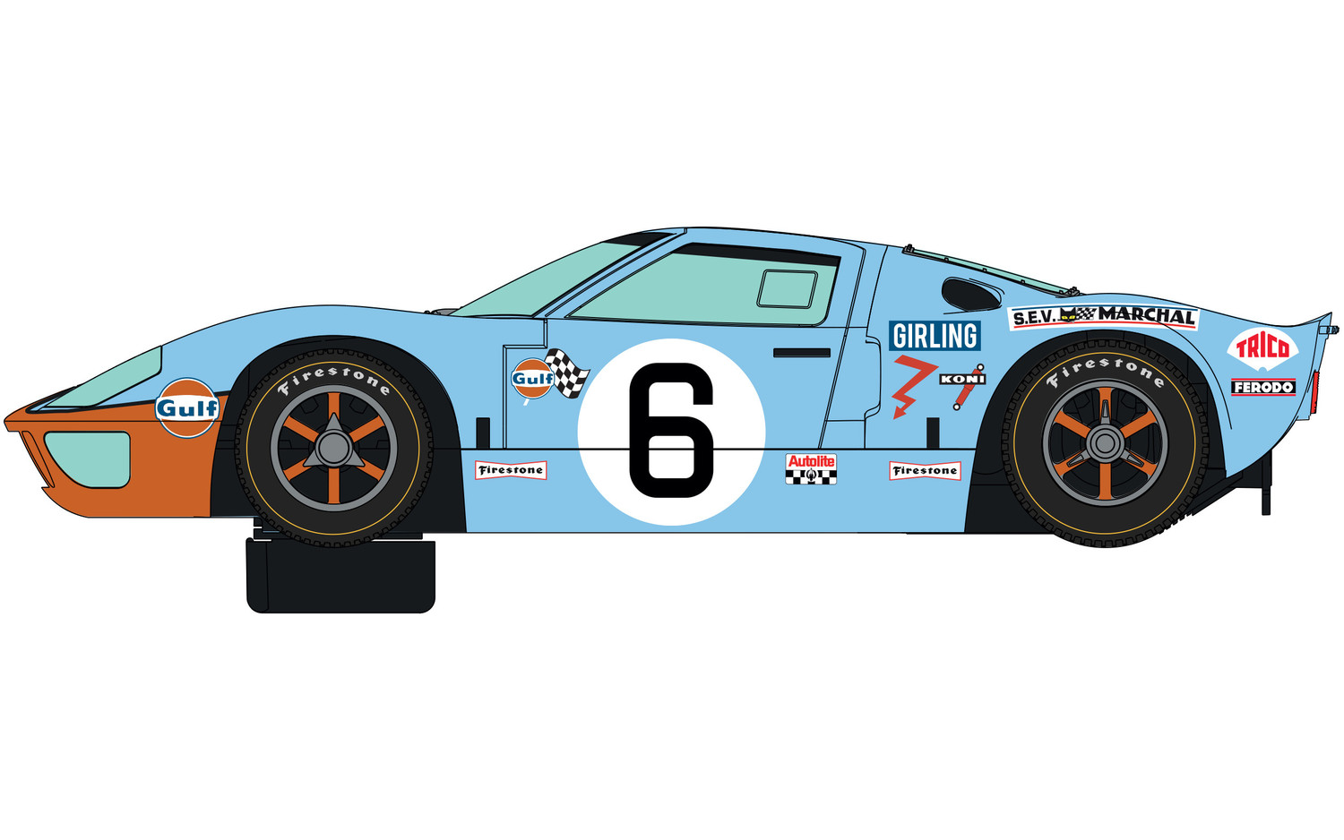 C4041A Scalextric Ford GT40 1969 Gulf Twin Pack