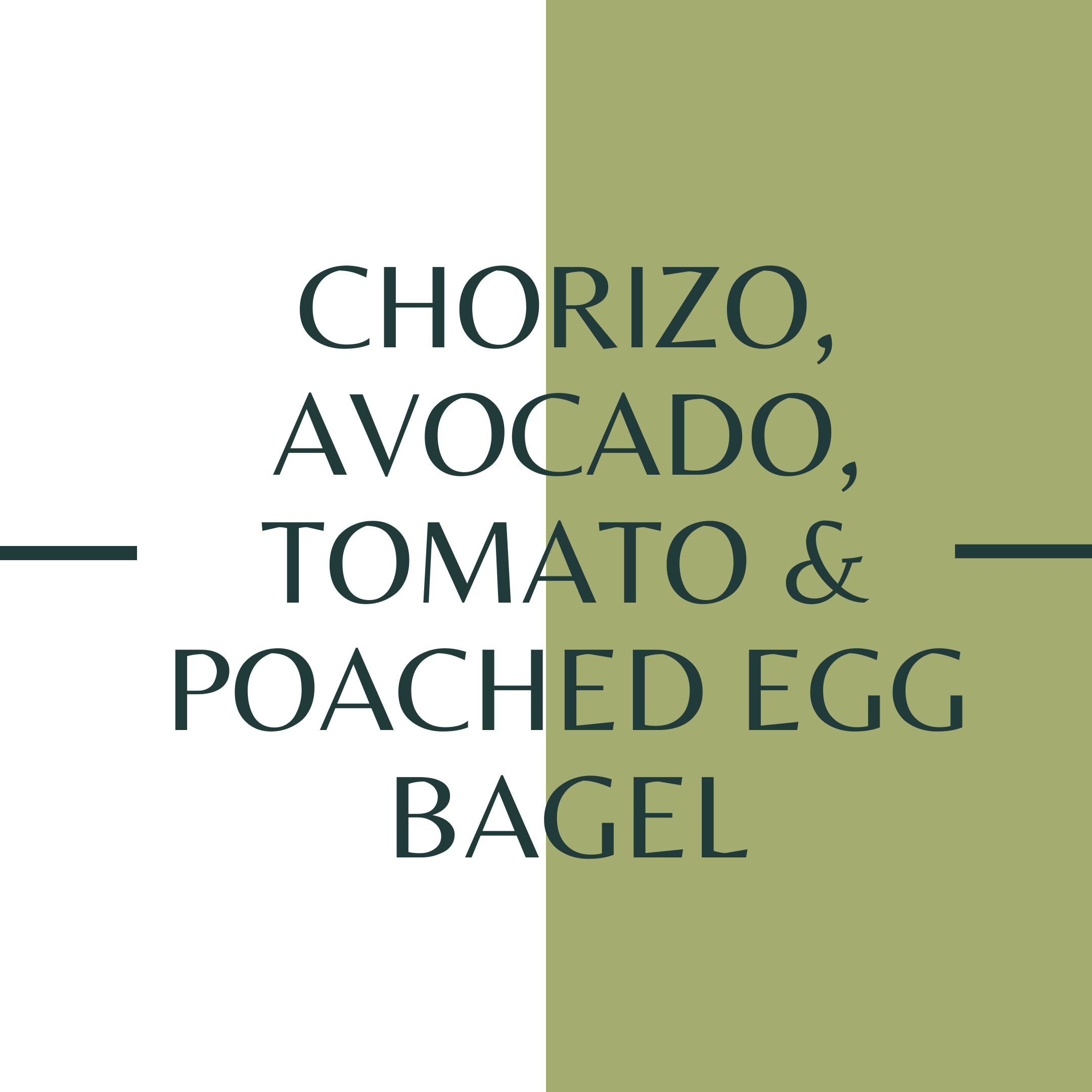 Chorizo, Avocado, Tomato & Poached egg Bagel