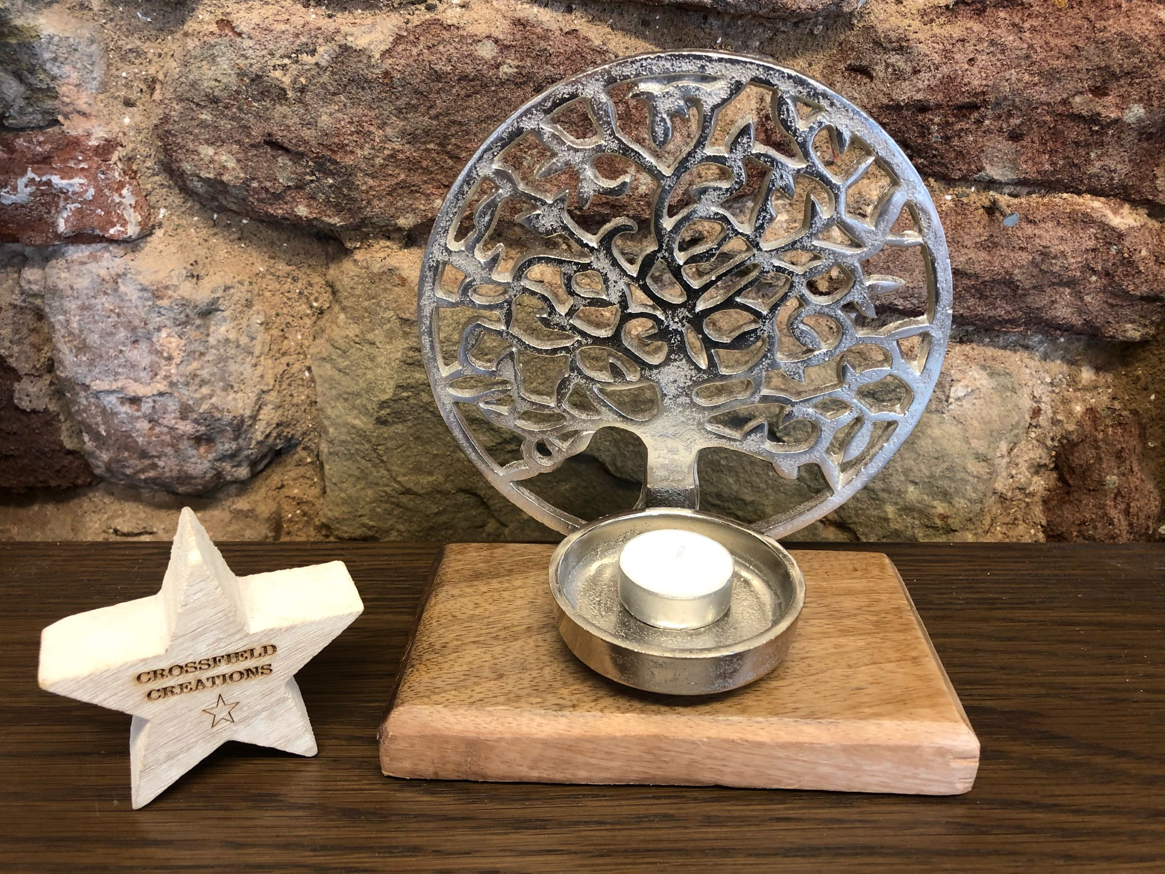Metal Tree of life tealight holder on wooden base