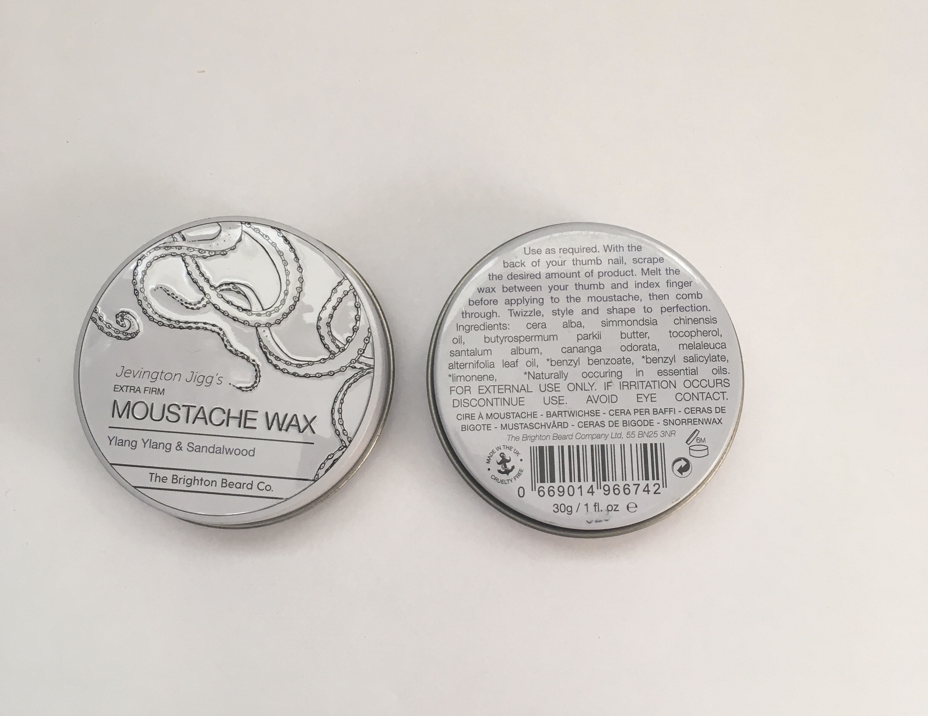 Moustache wax extra firm 30g ylang ylang & sandalwood