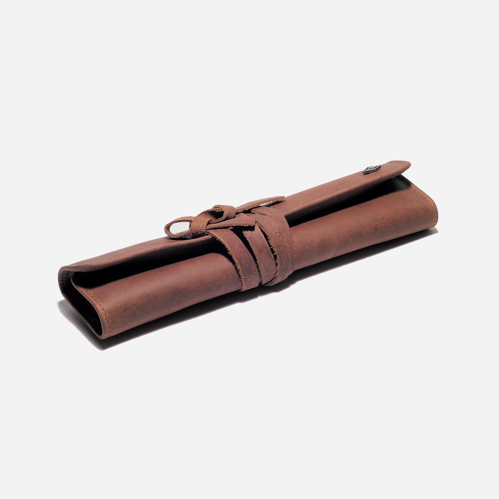 Roll up leather straight razor case