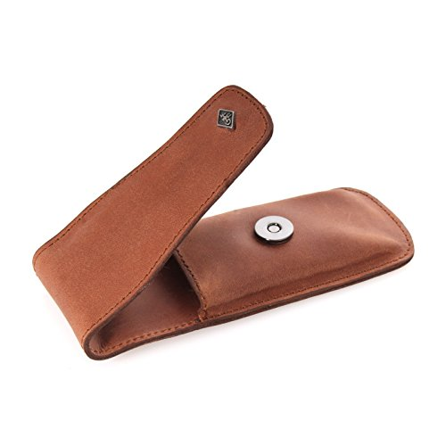 Slim leather razor case for a Double Edge razor