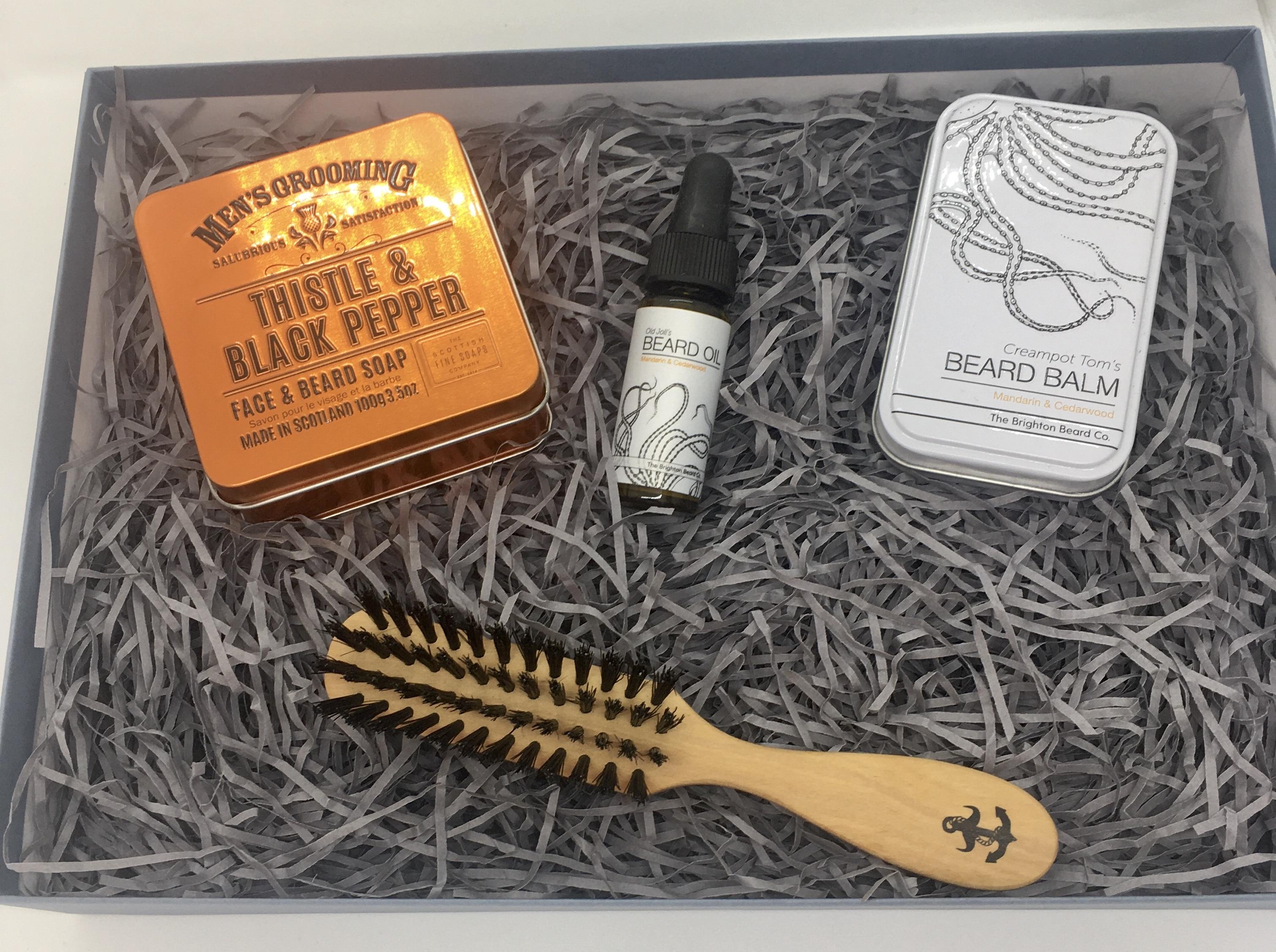 Beard soap, beard brush, oil and balm gift box