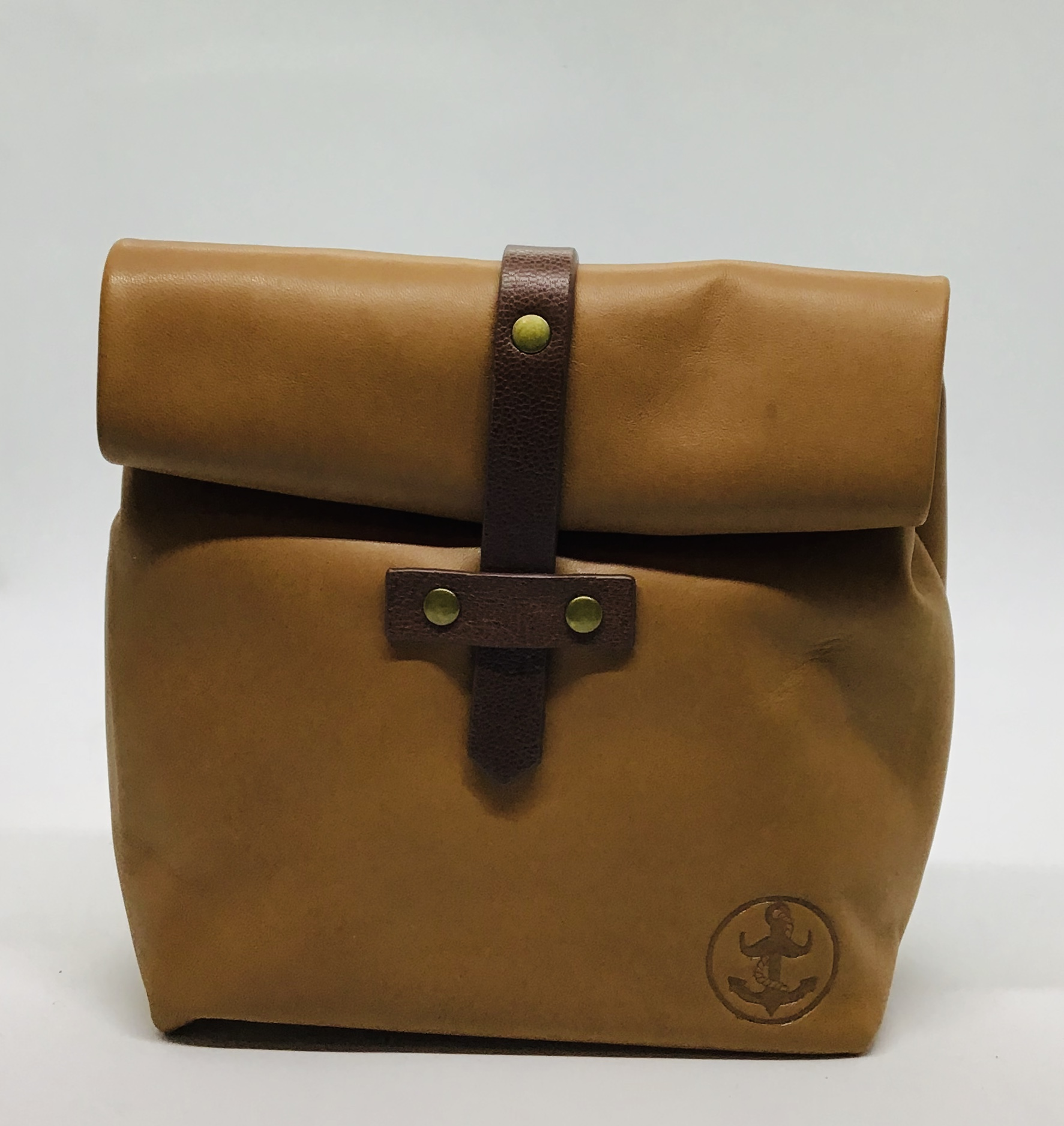 Leather roll down wash bag