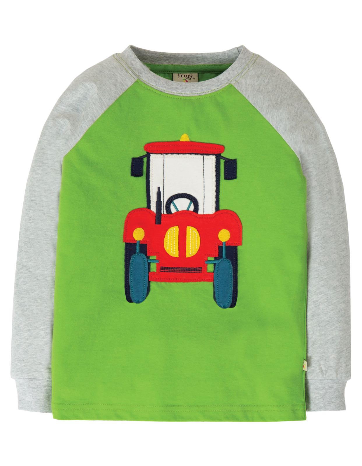 Frugi Jake Appliqué Top, Kiwi/Tractor