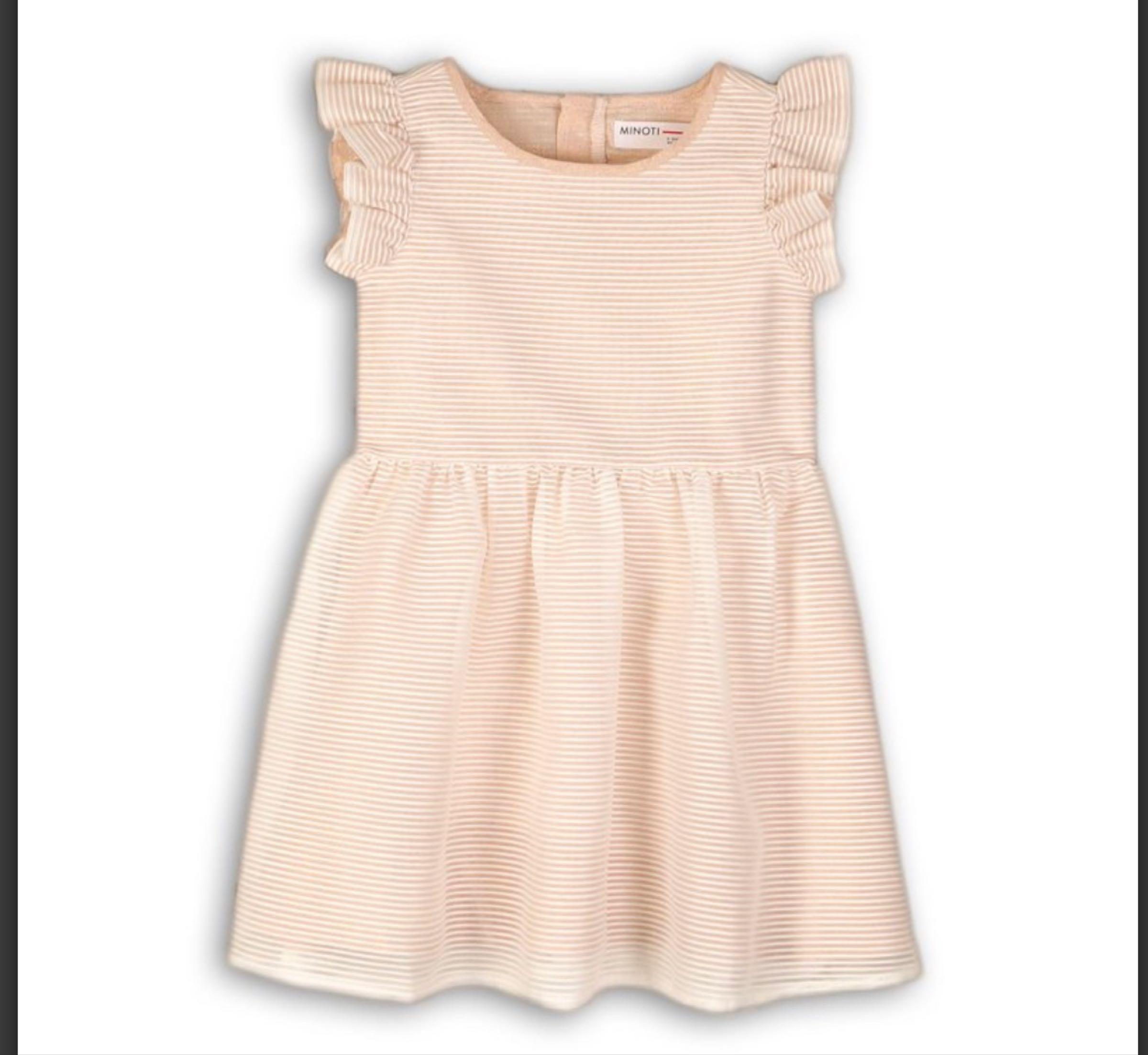Mesh striped Sand Coloured Dress
