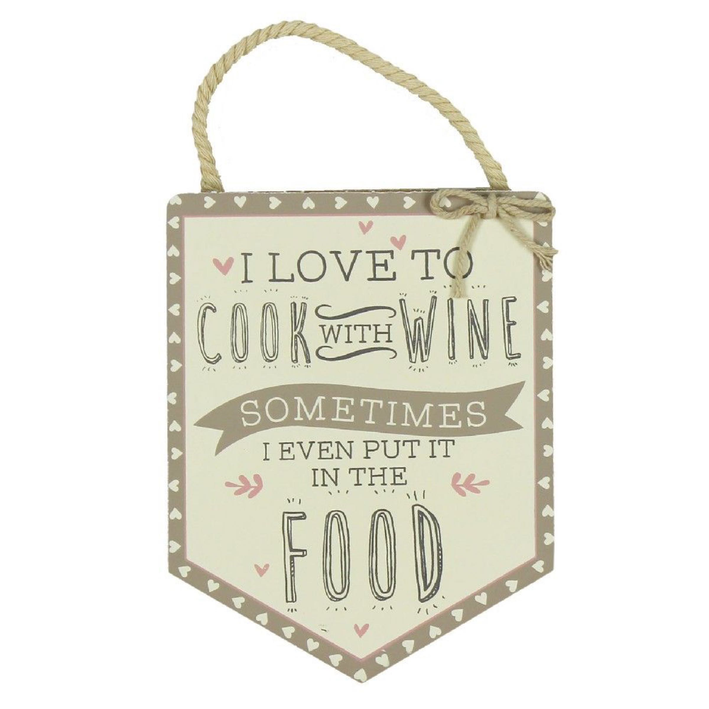 Cook with Wine Pendant Plaque