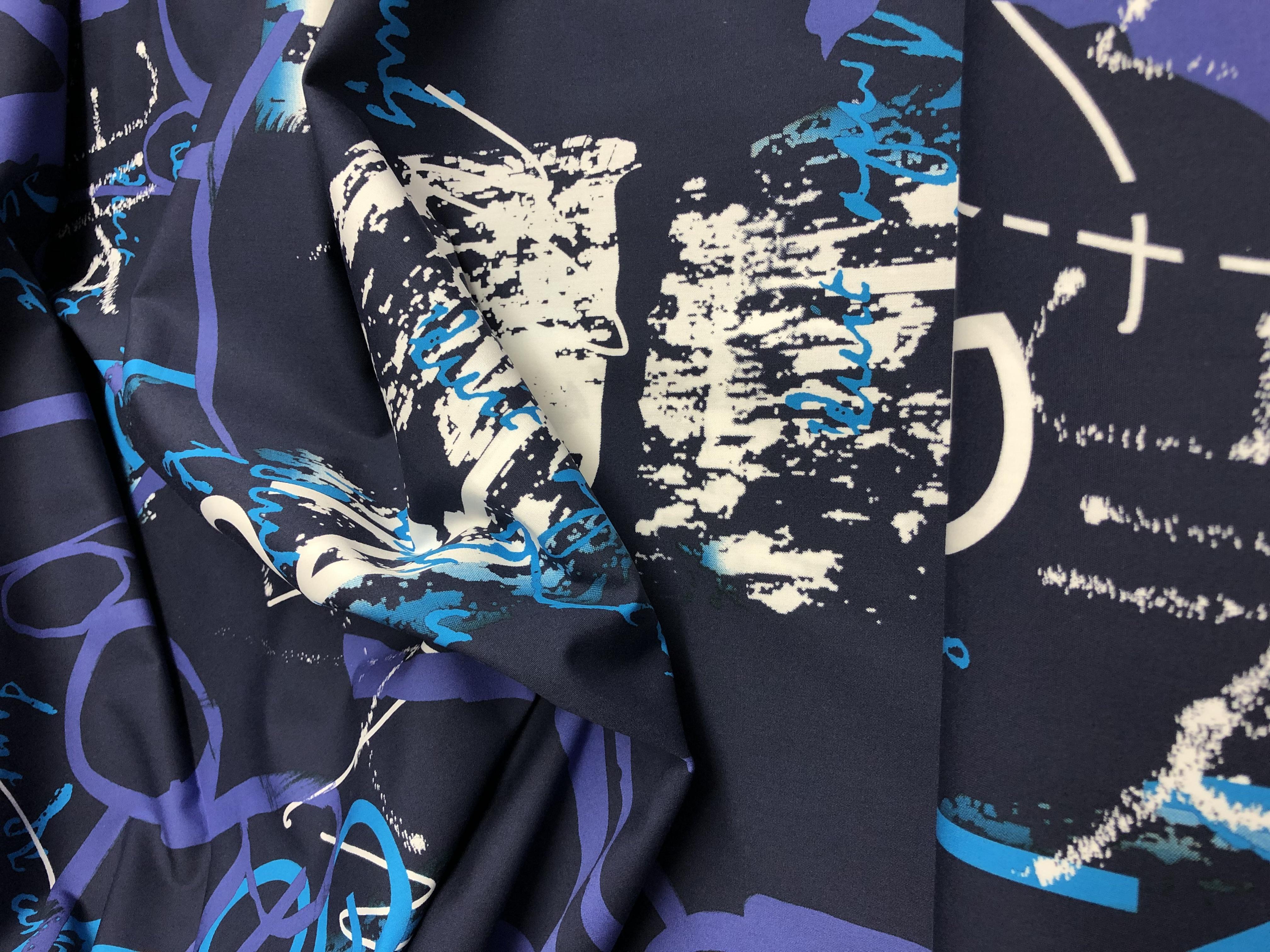 Navy Artwork Cotton Poplin