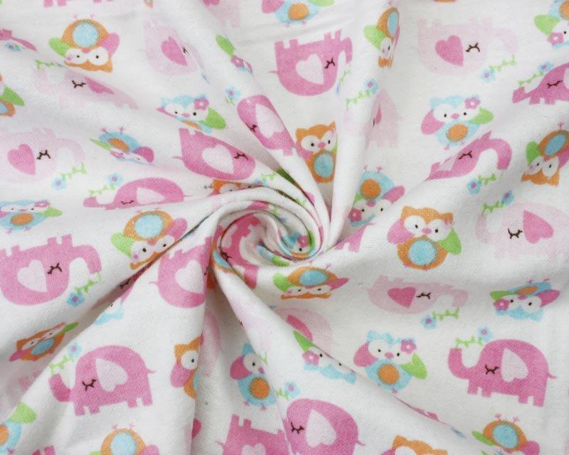 Brushed Cotton Pink Elephants
