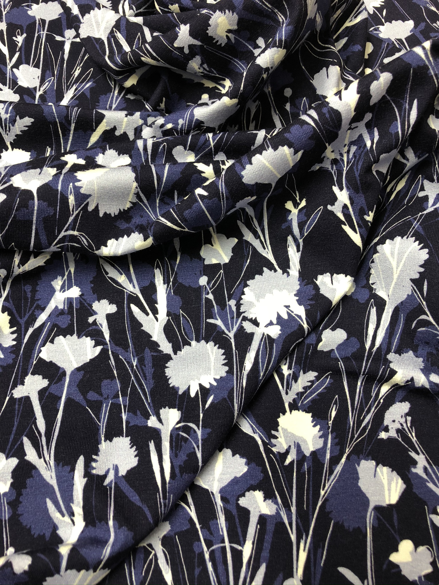 Blue Flower Meadow Viscose Jersey