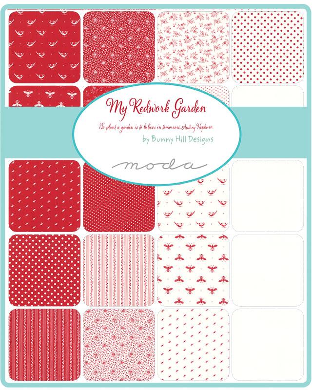 Moda Redwork Garden by Bunnyhill Designs