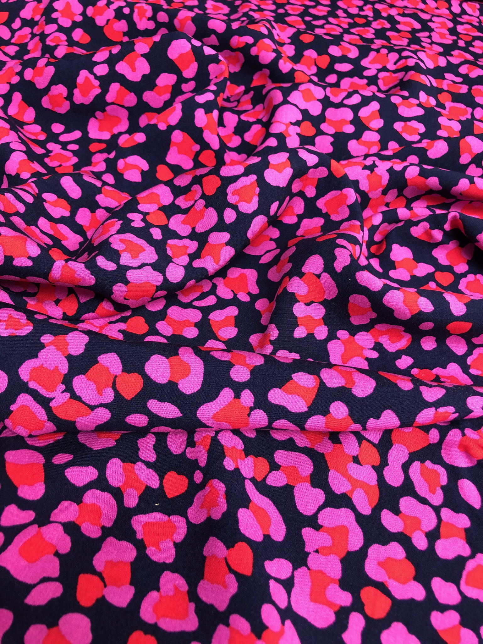 Black and Cerise Animal rayon print