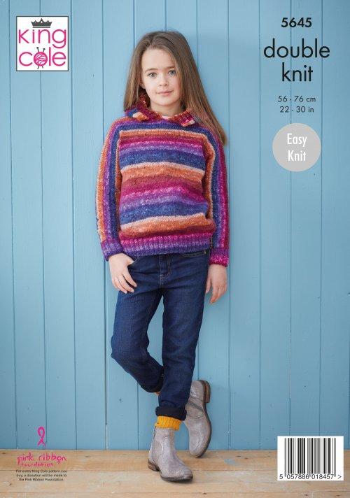 Knitting Pattern KC5645 Girls Sweaters in Bramble DK