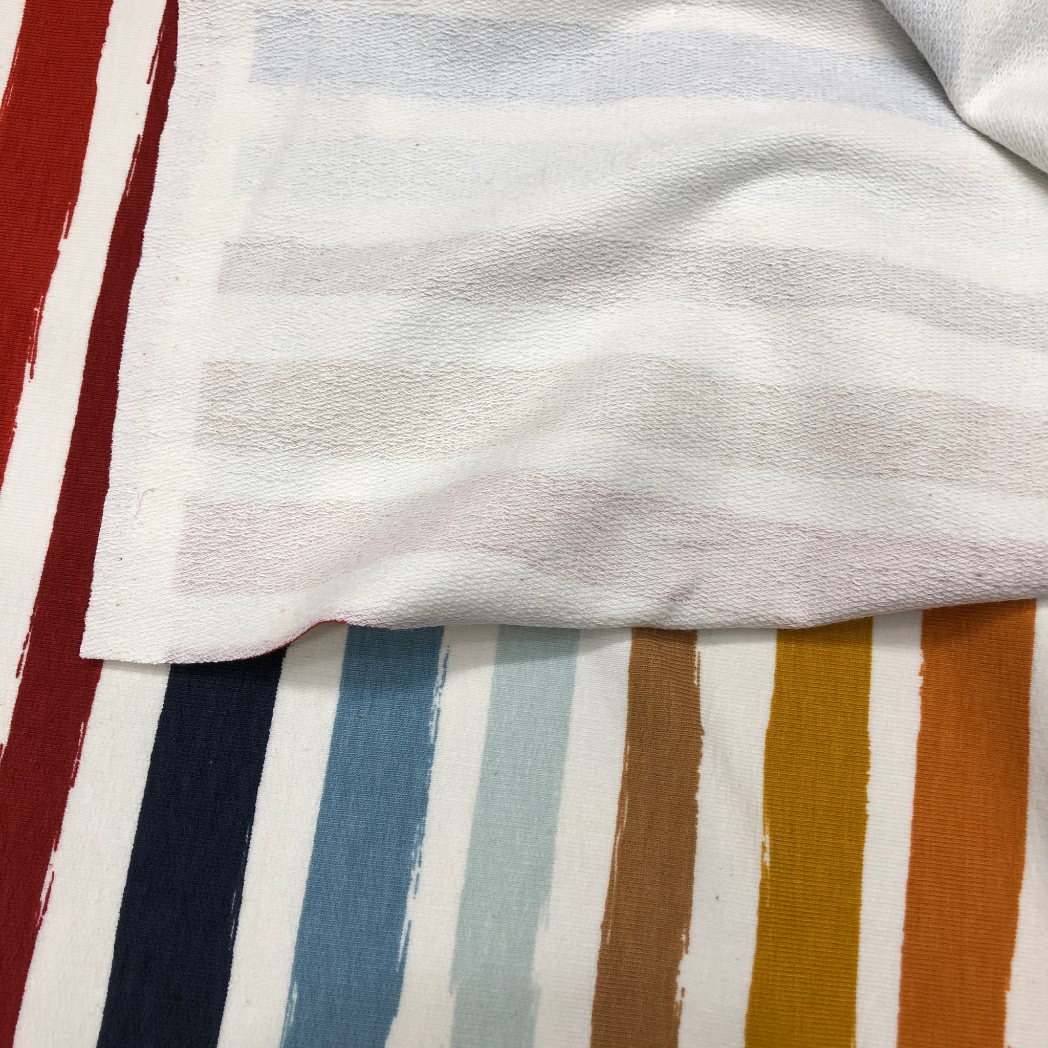 Stripes on white french terry jersey