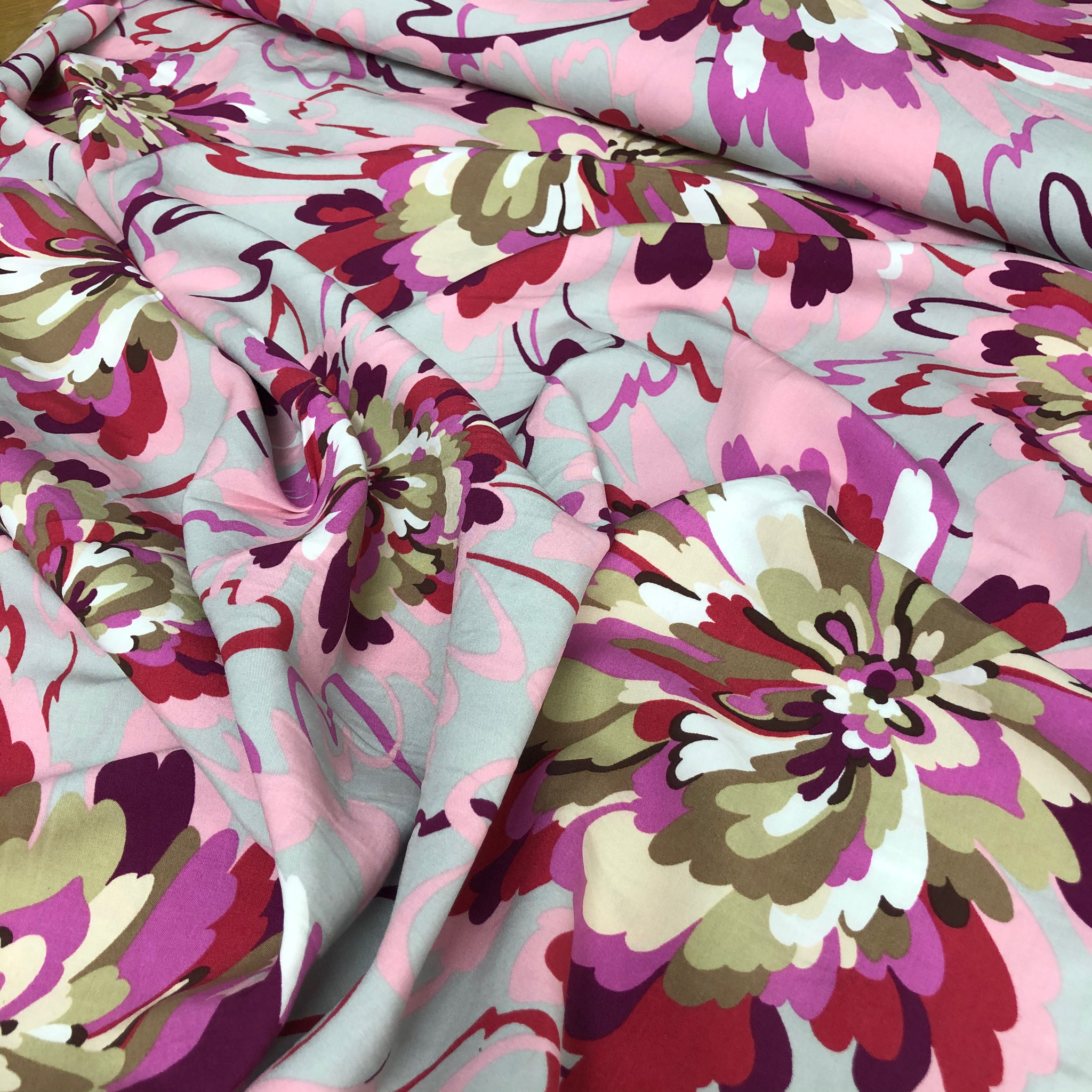 Pink and Grey large floral rayon print
