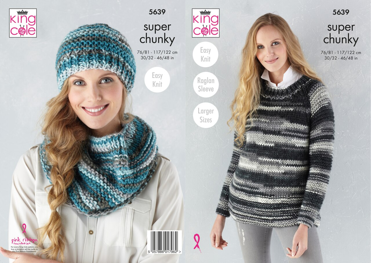 King Cole Knitting Scarf, Hat and Cardigan Pattern 5639