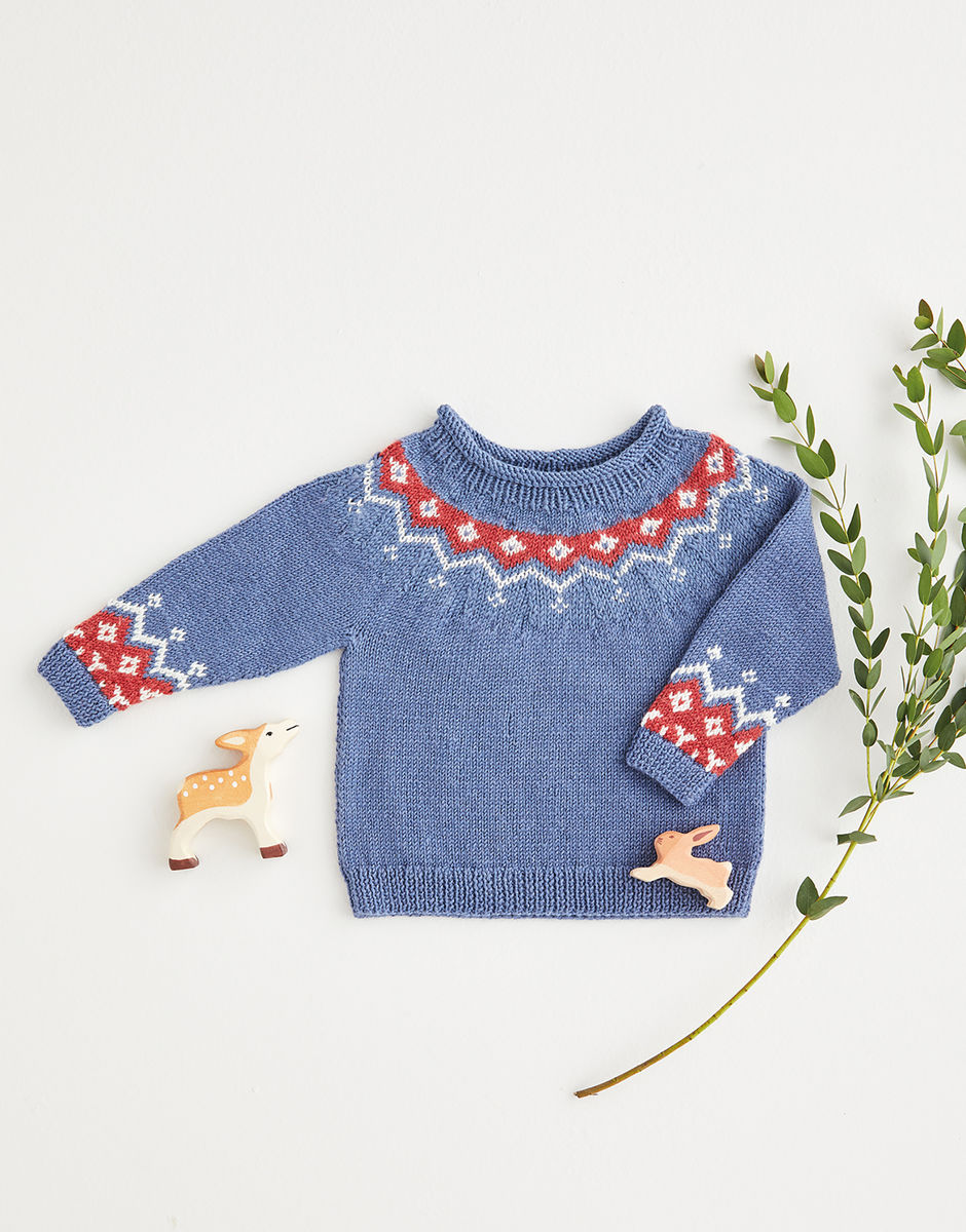 Sirdar Snuggly 4ply Fair Isle Yoke Sweater Pattern 5391