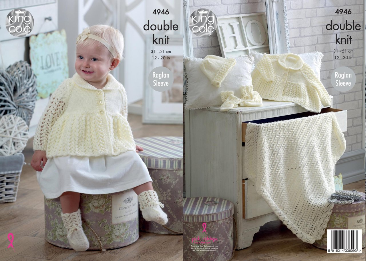 King Cole 4946 Jacket, Bonnet, Mittens, Bootees & Blanket Knitted in Comfort DK