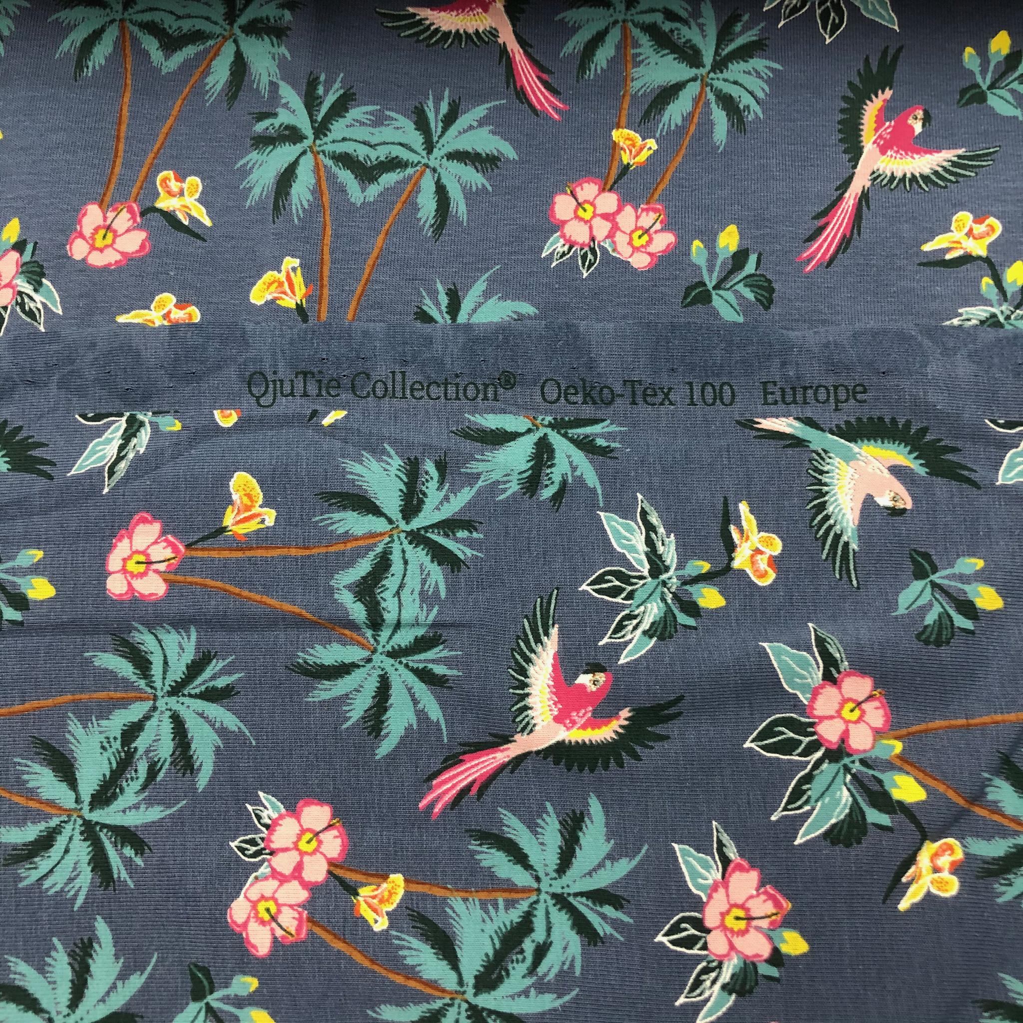 Parrot jungle cotton jersey