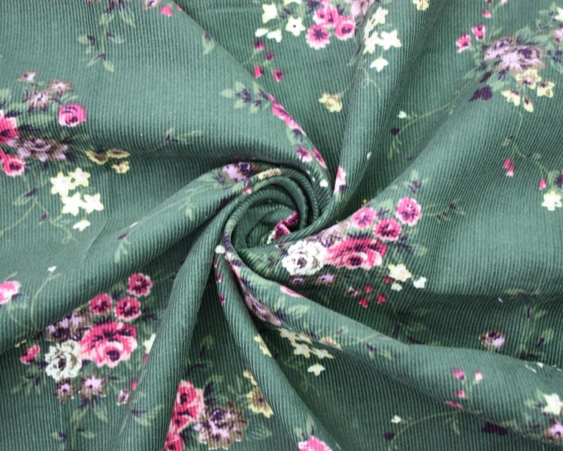 Vintage Green Floral Needlecord