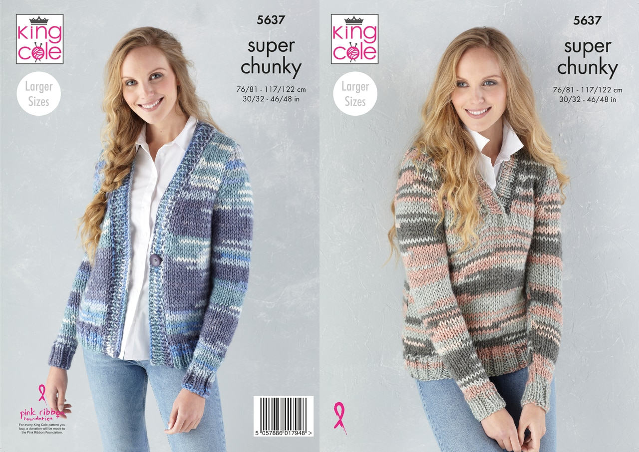 King Cole Knitting Cardigan and Sweater Pattern 5637