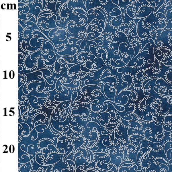 Blue Christmas Scrolls Cotton