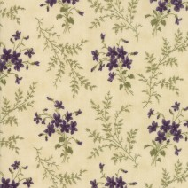 Sweet Violet Bouquet Cream 1.5 metre remnant