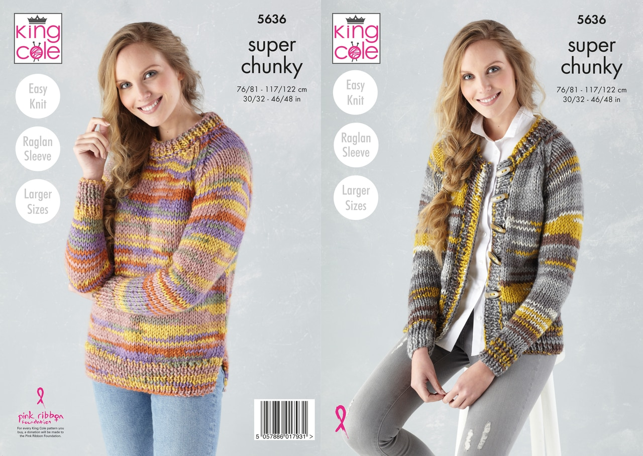 King Cole Sweater and Cardigan Knitting pattern 5636