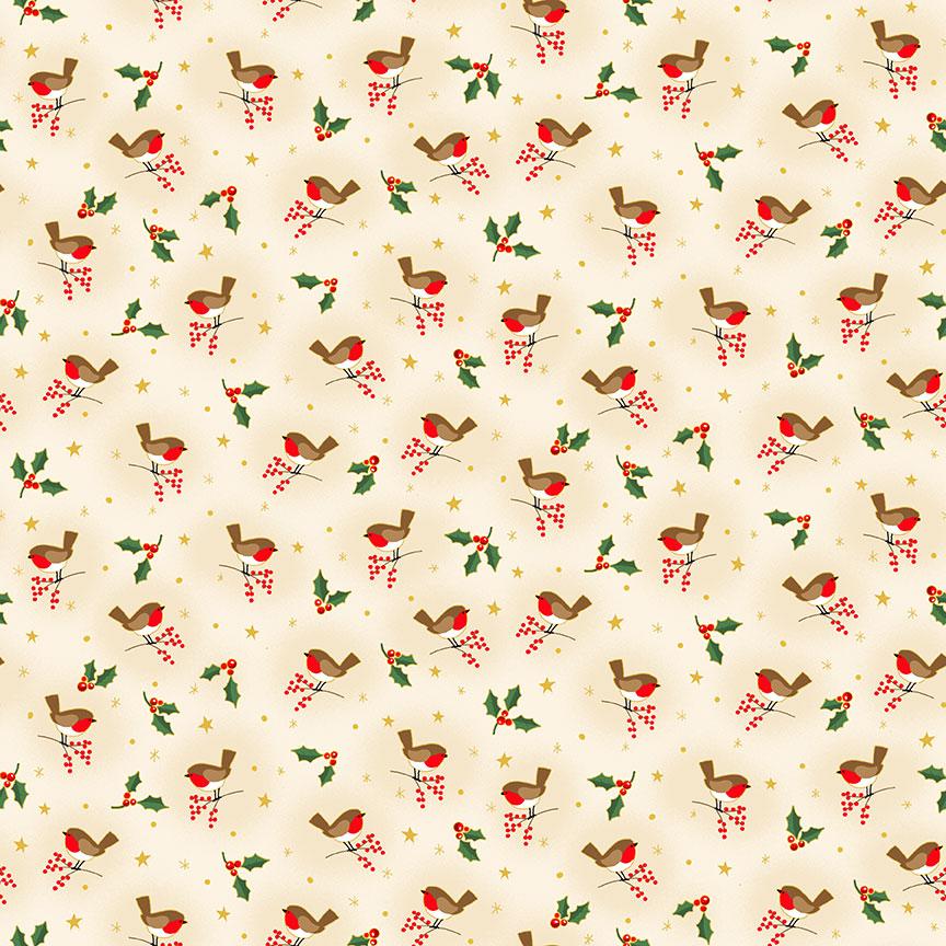 Classic Christmas Robin on Cream- Makower