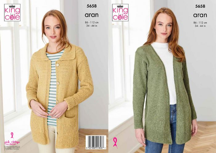 King Cole Ladies Cardigans 5658 in Forest Aran
