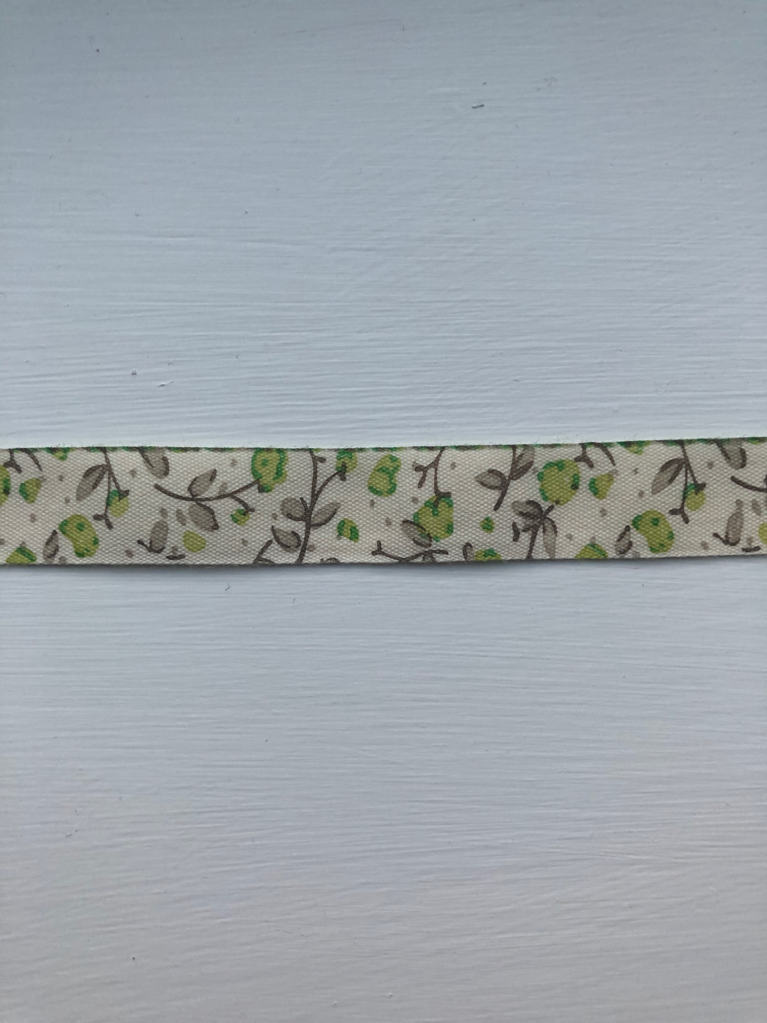 Green Floral cotton tape 14mm