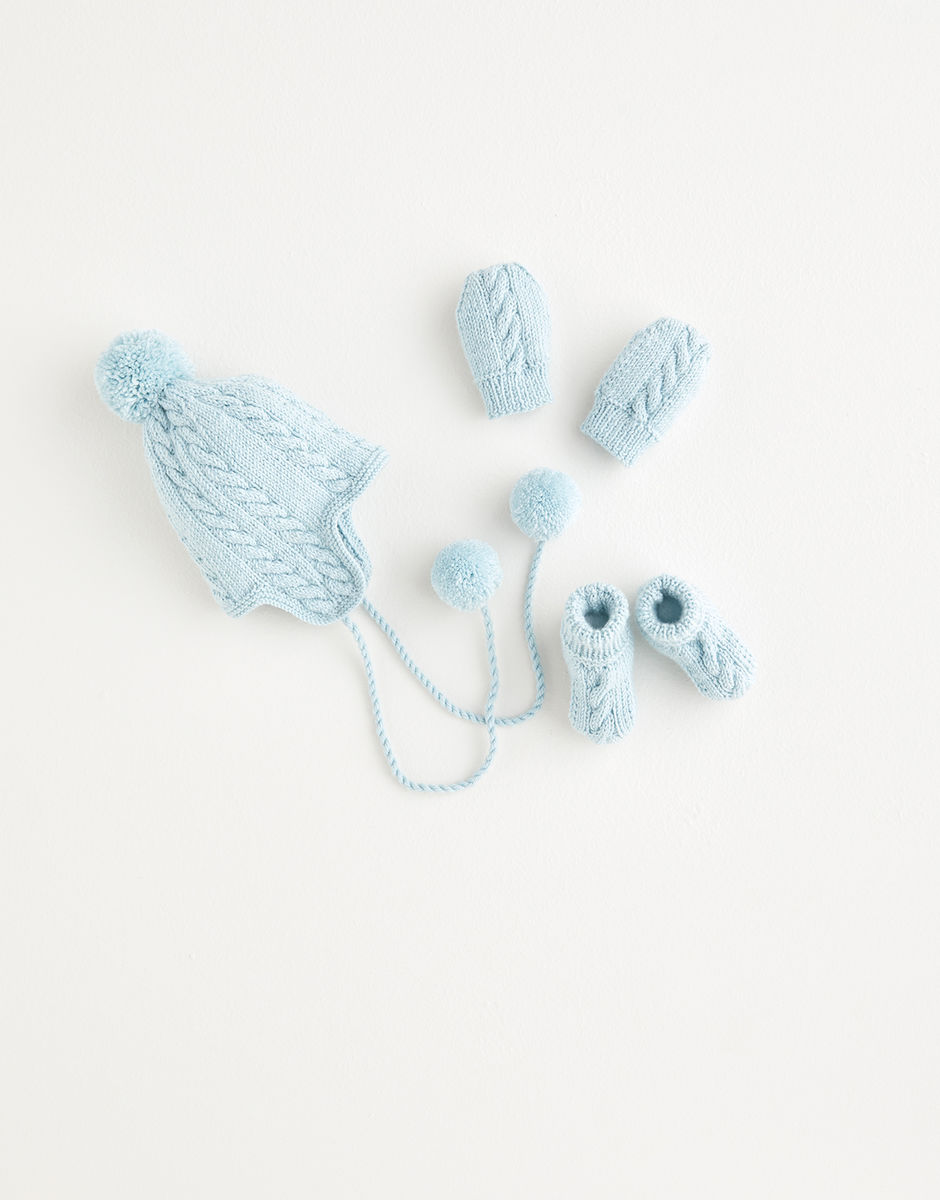 Sirdar Snuggly 4 Ply Pom Pom Hat, Mittens and Booties Pattern 5392