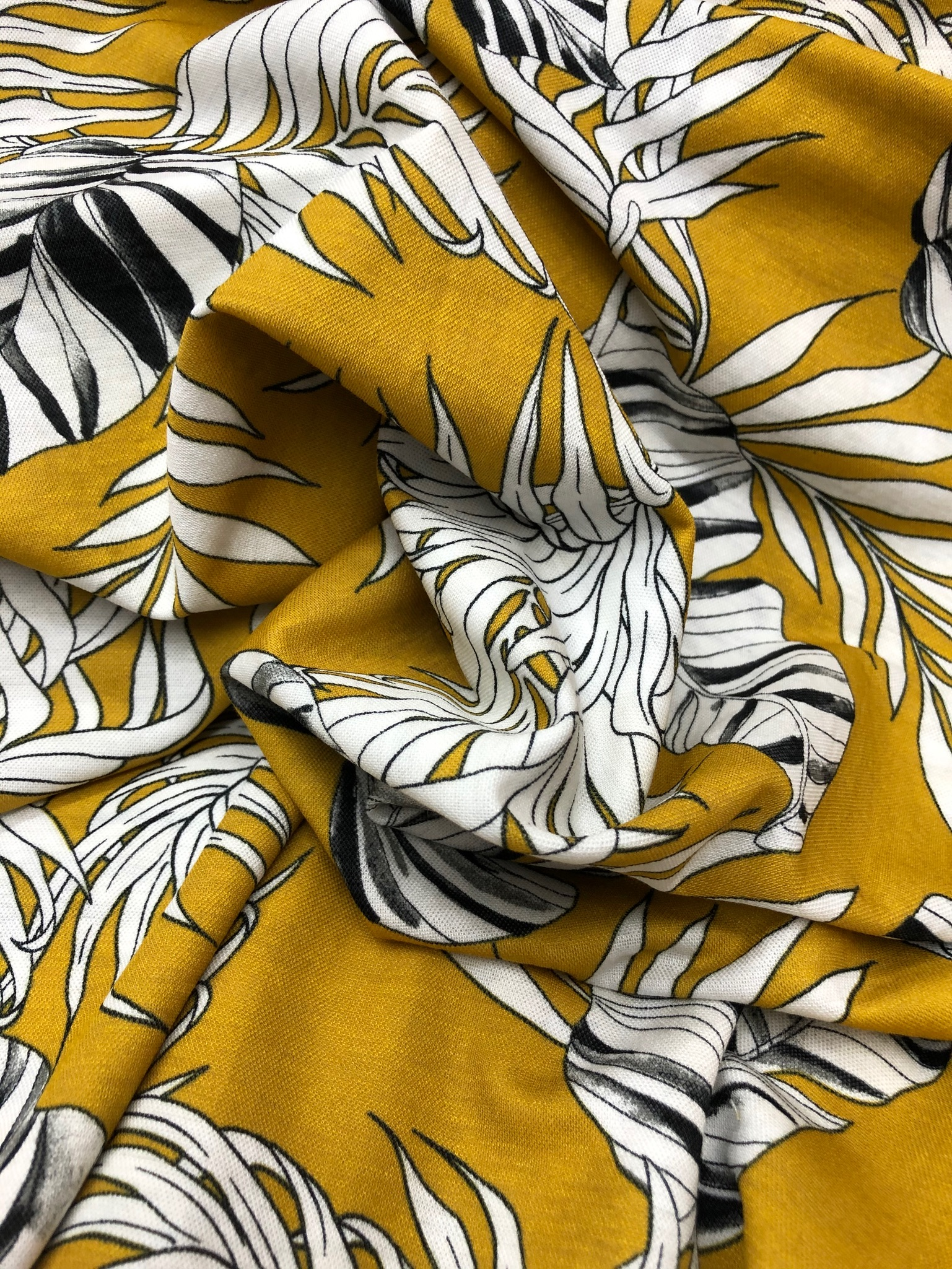 Palm Print on Ochre Jersey