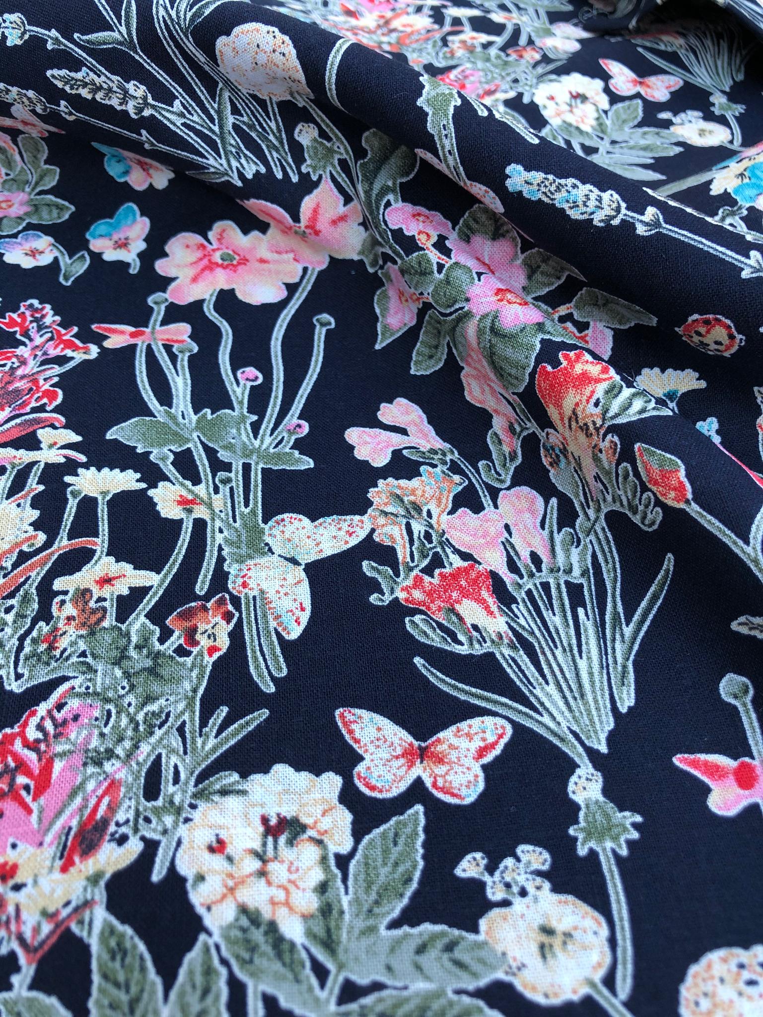 Navy Wildflower Linen/Viscose Mix