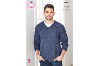 King Cole Forest Aran Mens Sweater Pattern 5659