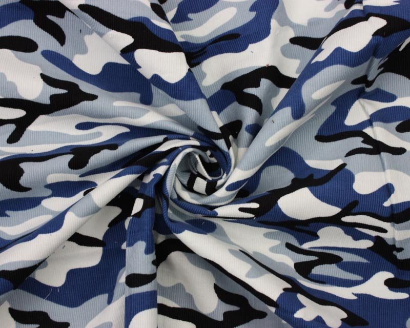 Camouflage Blue Needlecord