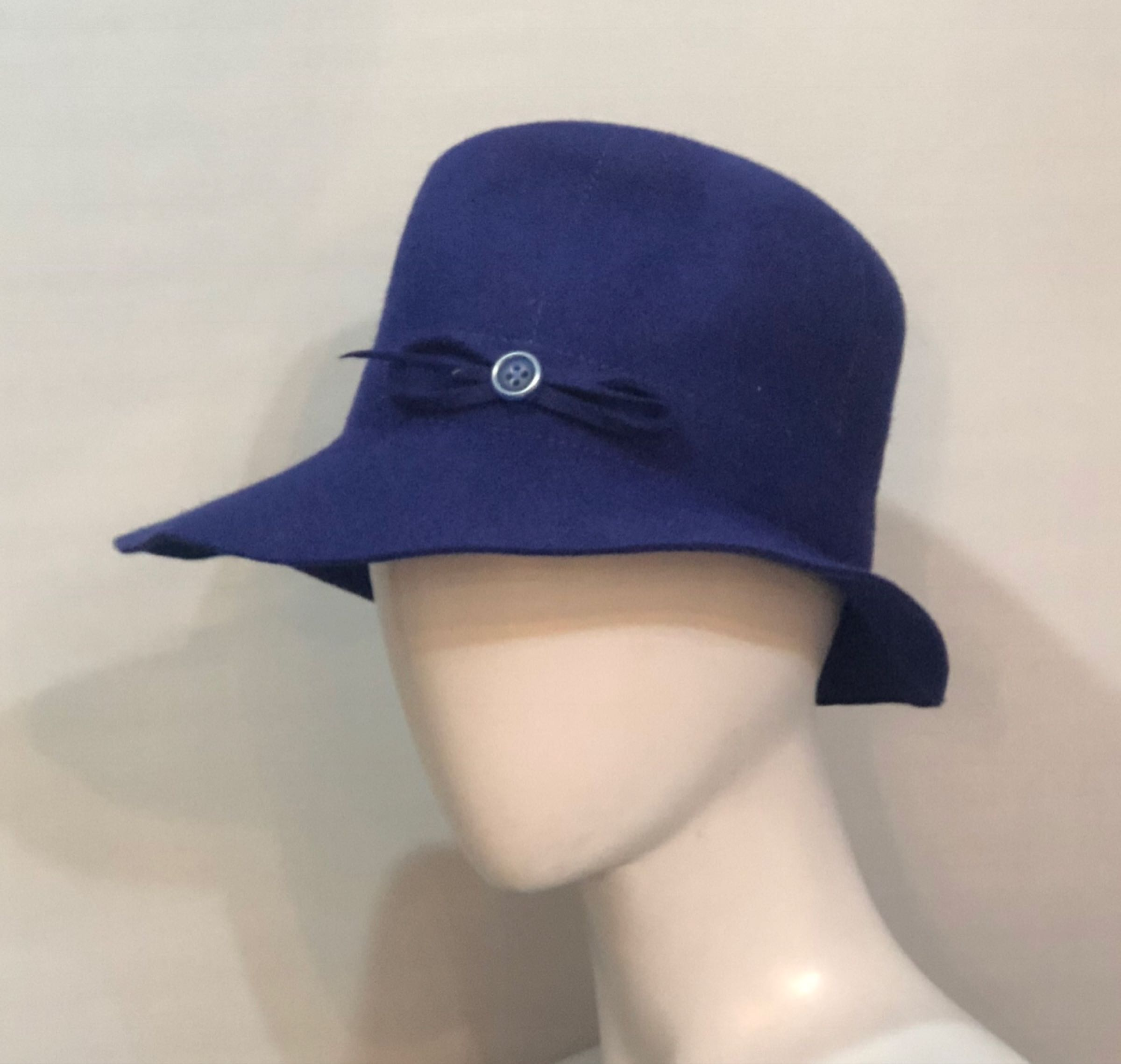 Blue fedora with stitching