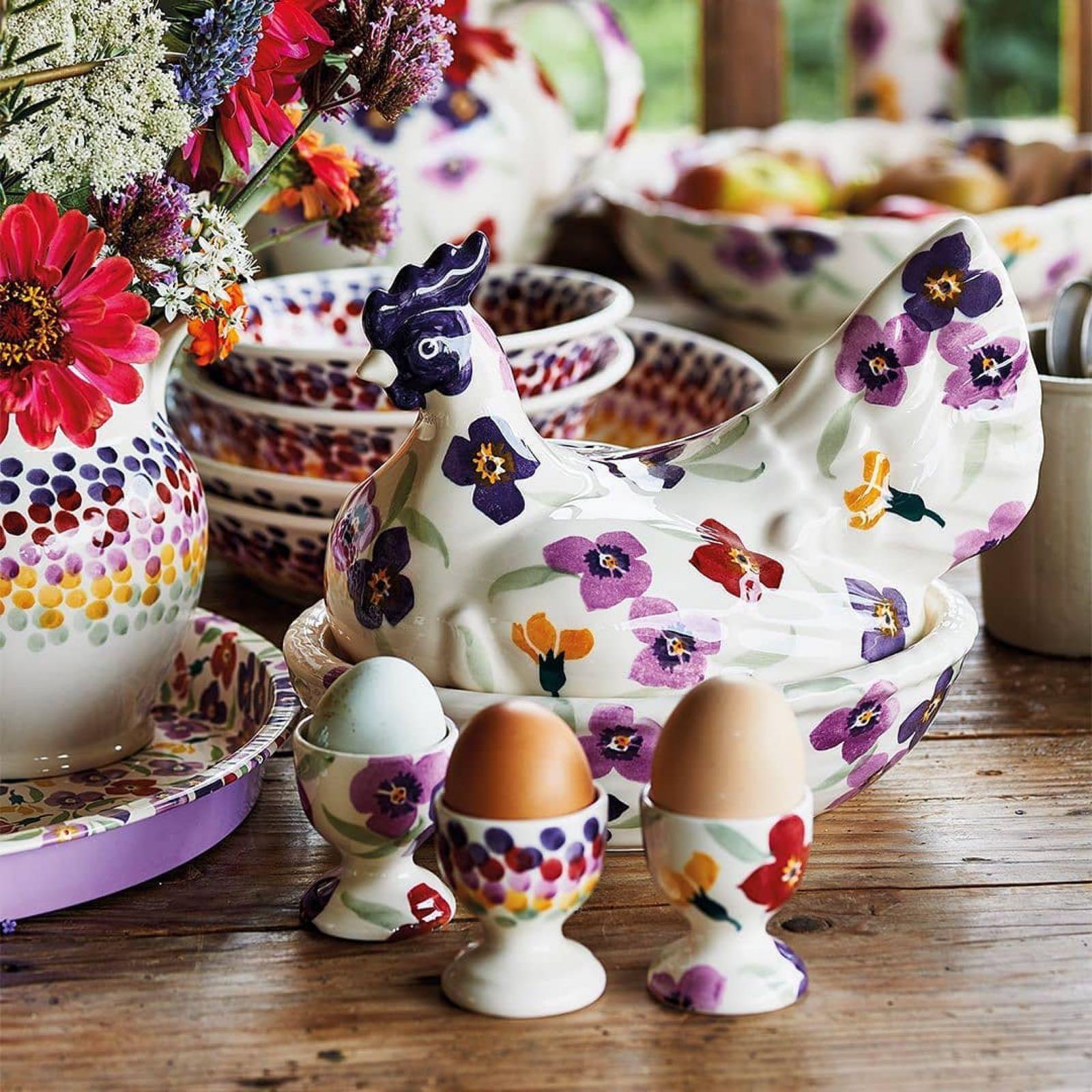 Emma Bridgewater Purple Wallflower Set of 3 Egg Cups Boxed