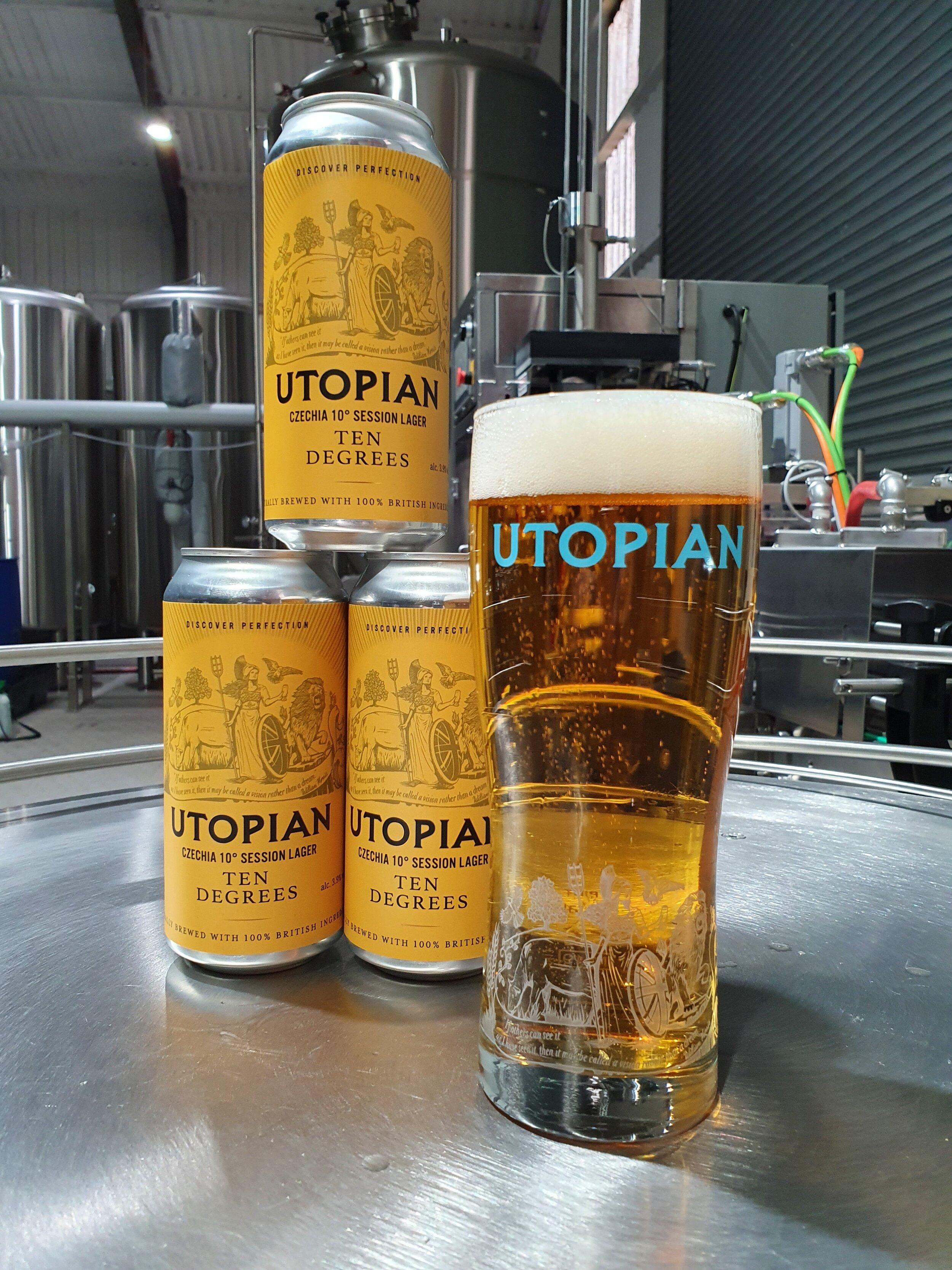 Utopian   Ten Degrees   Czechia 10° Style British Session Lager 3.9% 440ml