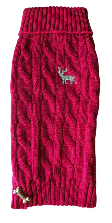 Fuschia cable knit jumper