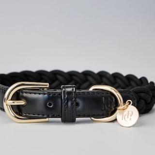 Braided collar in black