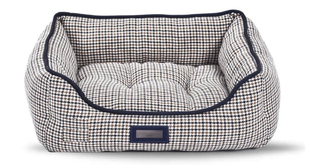 Navy Dogtooth check tweed bed