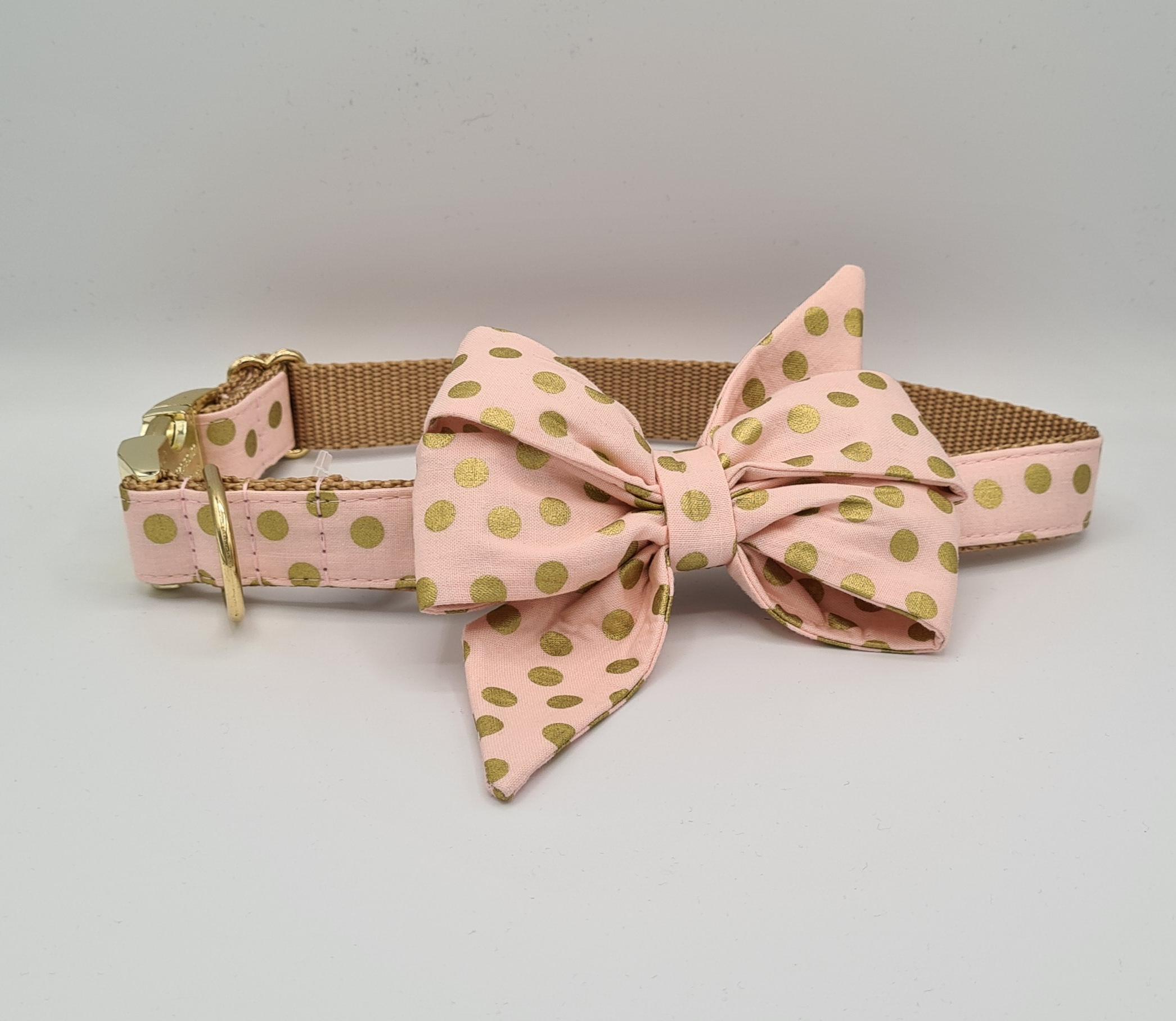 Blushing Gold dot bow collar