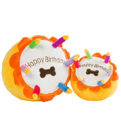Birthday cake plush dog toy