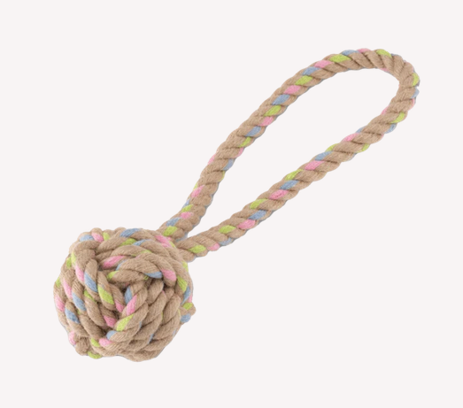 Hemp rope ball with handle